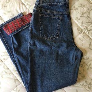 LLBean Flannel Lined Jeans, Women's Size 14 Tall
